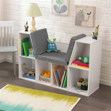 bedroom color schemes pictures bookcase with reading nook in white kidkraft 14230 14230   bookcase with reading nook white kidkraft 14230 22