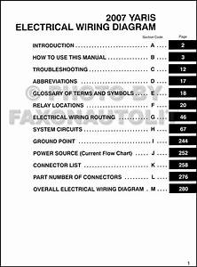 2007 Toyota Yaris Wiring Diagram Manual Original