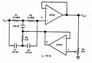 Simple Adjustable Notch Filter Circuit Diagram