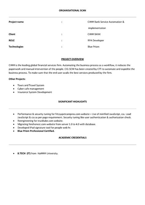 RPA Blueprism Sample Resume - Free Download - Product