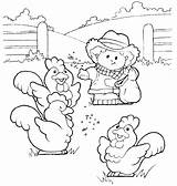 Farm Coloring Pages Chickens Feed Chicken sketch template