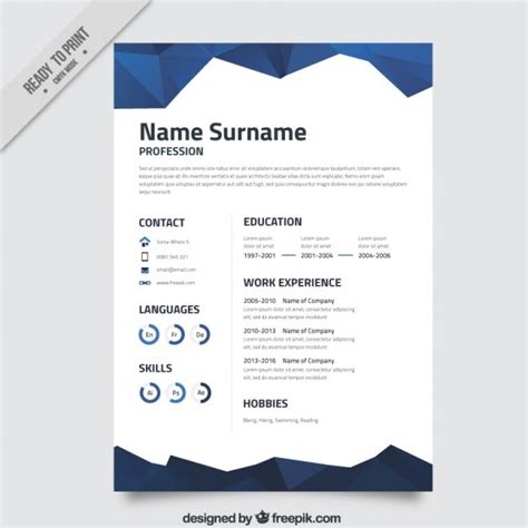 blue abstract resume template vector premium