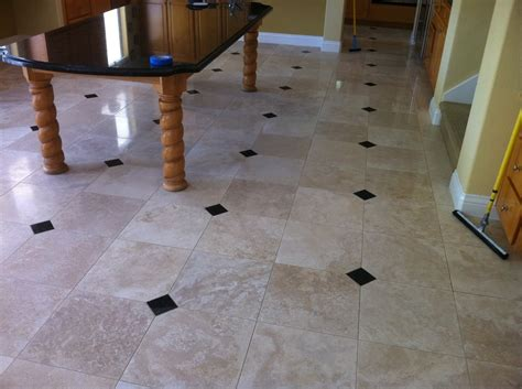 cleaned and polished travertine tile clean grout lines