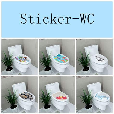 34 46cm sticker wc pedestal pan cover sticker toilet stool commode stickerwc home decor in wall