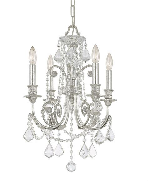 olde silver wrought iron small chandelier with