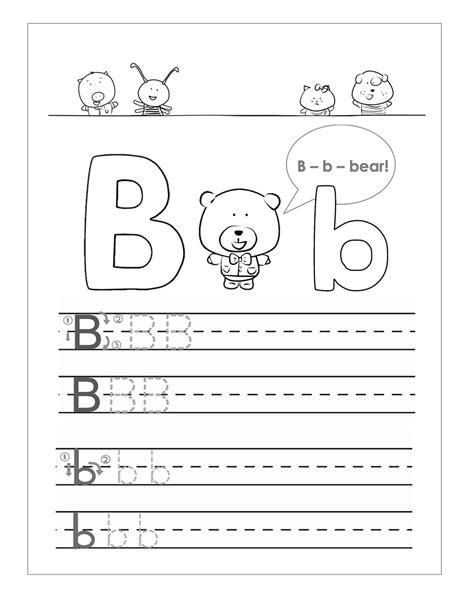 Trace Letter B Worksheets For Kids  Printable Shelter
