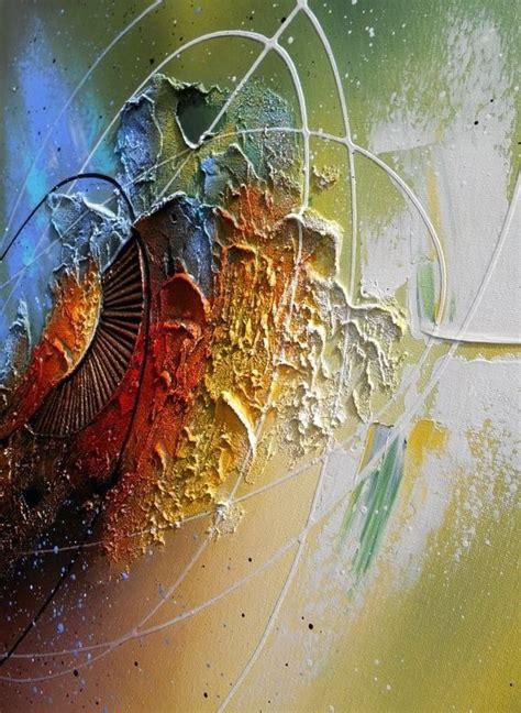 apprendre a peindre sur toile peinture tableau abstrait contemporain encadr 233 toile acrylique en relief noir vert jaune blanc