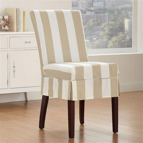 cabana striped dining chair slipcover  bone dining