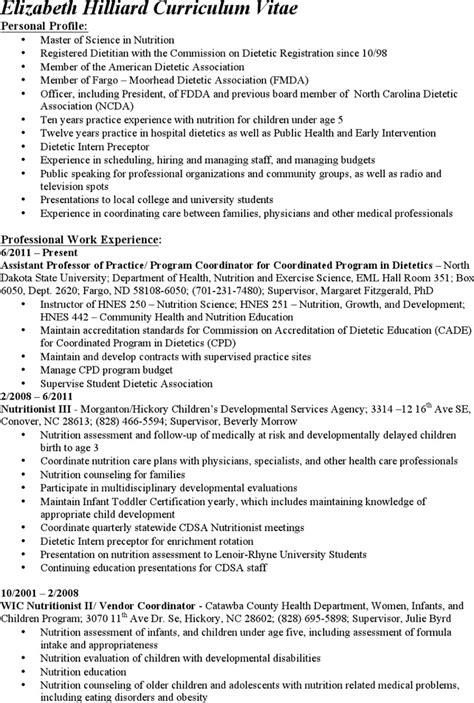 dietitian resume templates