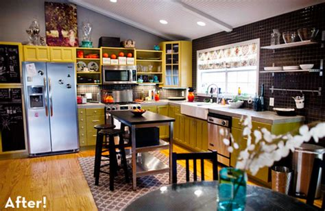 funky painted kitchen cabinets and colorful kitchen makeover 3673