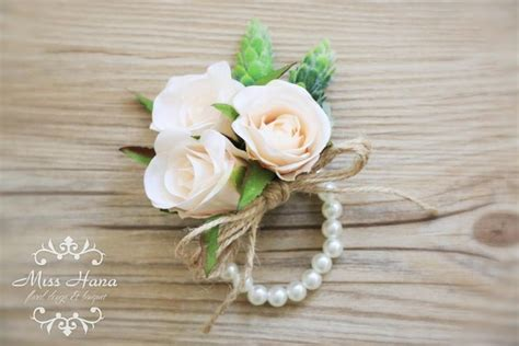 Champagne Rose Corsage, Rustic Vintage Wrist Corsage