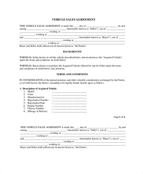 purchase agreement template word sle vehicle sale agreement template in pdf