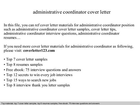 administrative coordinator cover letter resume administrative coordinator cover letter