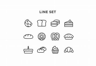 Bakery Icons Minimal Vector Cake Icon Comes