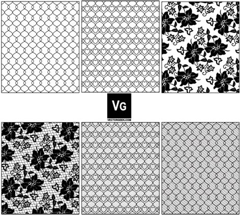 vector lace  mesh pattern swatches
