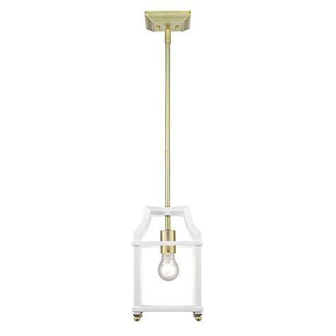 golden lighting leighton 1 light satin brass and white pendant light 8401 m1l sb wh the home depot