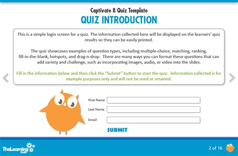 captivate templates the learning smith captivate 8 quiz template