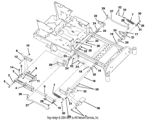 ariens 991085 010000 019999 max zoom 48 parts diagram for mechanical lift