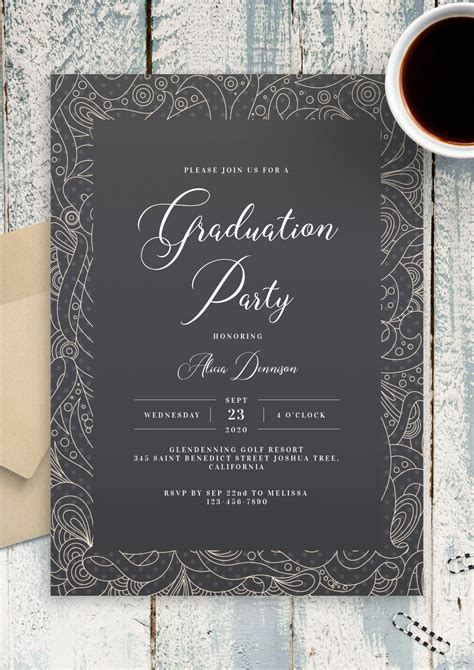 Download Printable Fancy Pattern Graduation Invitation