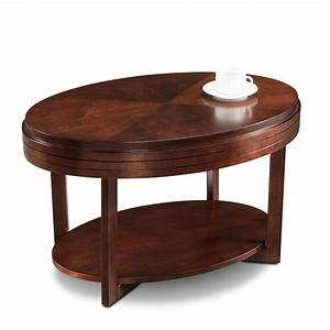 Leick chocolate cherry oval condo apartment coffee table for Oval cherry wood coffee table