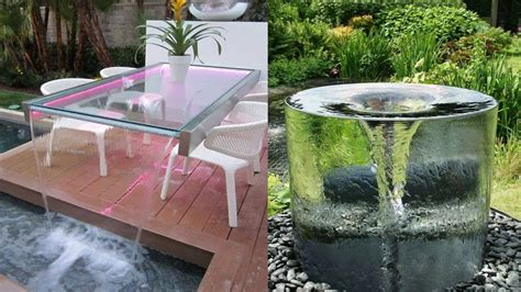 glass waterfall wall outdoor water design ideas diy outdoor