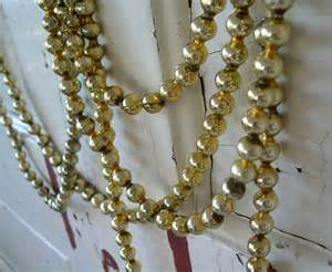 vintage gold glass bead christmas tree garland by peppermintbark