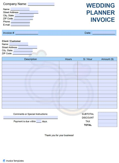 wedding planner invoice template  word excel