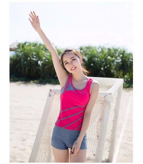 hot boxers striped sport  pieces vest skirt tankinis set show thin swimsuit bathing suit