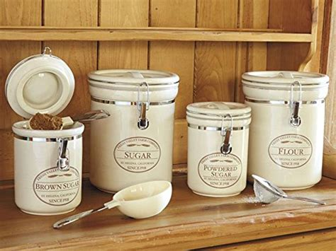kitchen flour canisters canisters 4 set sugar brown powdered flour storage