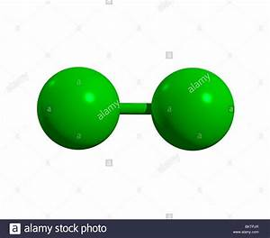 Chlormolek U00fcl Cl2    Chlorine Molecule Cl2 Stock Photo