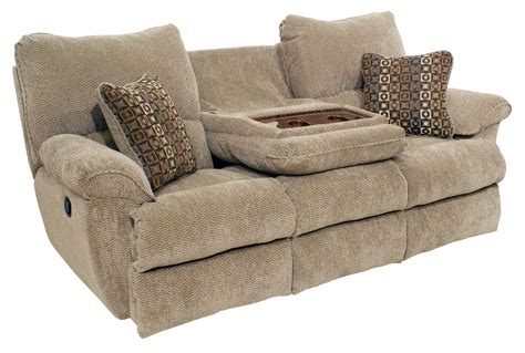 sofa with two recliners khaky velvet reclining double seat sofa built in drop down