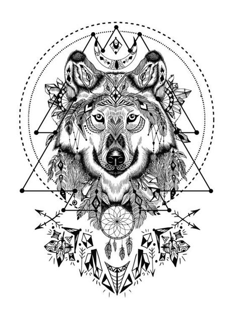 boho wolf  sacred geometry adult coloring book page printable instant  fun