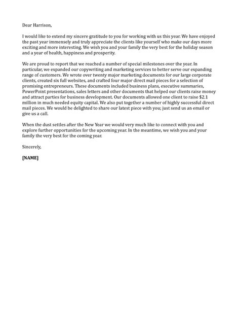 sample business letter happy  year sample business letter