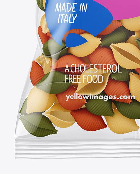 Fusilli pasta random flat lay on blue background without shadow. Frosted Plastic Bag With Tricolor Tortiglioni Pasta Mockup ...