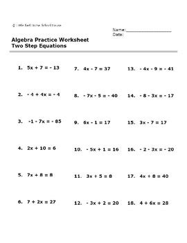 algebra practice worksheet two step equations with answer key