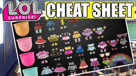 lol surprise fashion crush cheat sheet lol eye spy