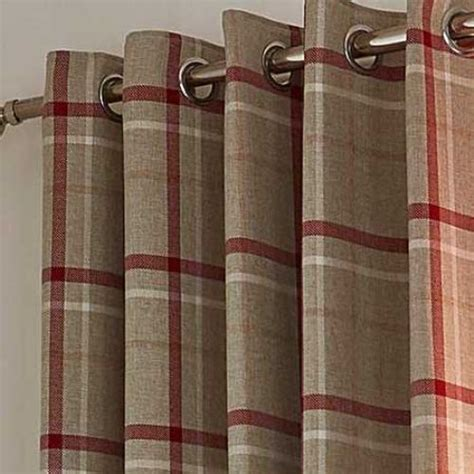red hudson woven check ring top curtains  mill shop