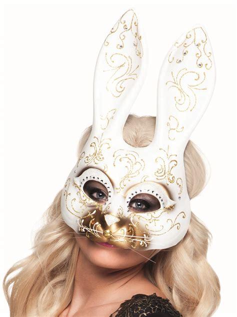 venezianische maske halbmaske hase weiss gold guenstige
