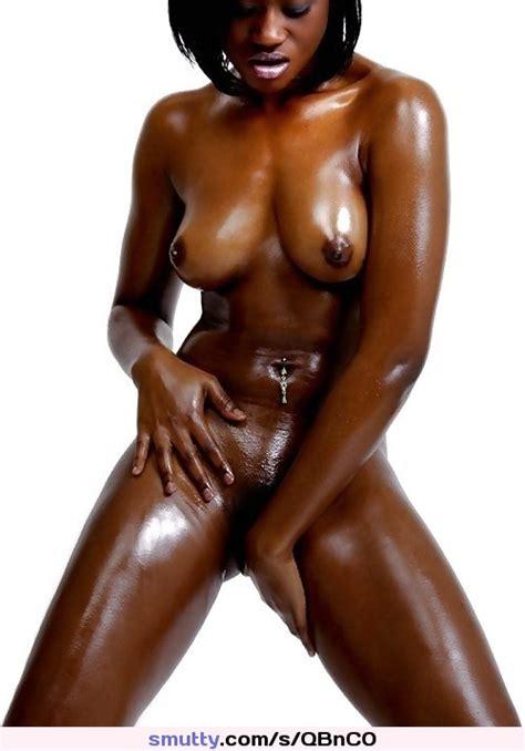 Female Nude Black Ebony Brunette Oiled Pussy Pierced Piercednavel
