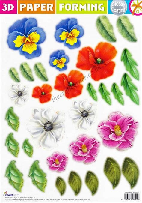 poppy  mixed flowers paper forming die cut  decoupage