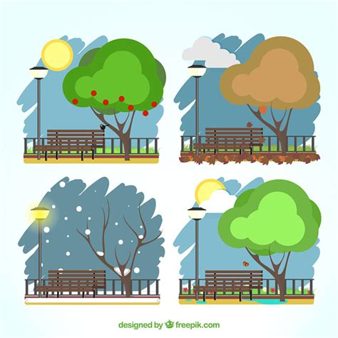 Free Vector | Park in four seasons