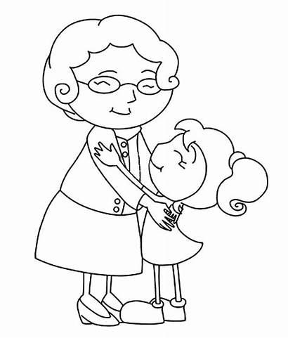 Coloring Hug Grandmother Pages Grandchild Grandma Granddaughter