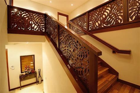 hand carved merbau stair railings  indonesia