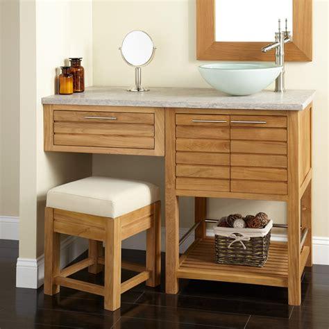 bathroom makeup vanity 48 quot salinas teak vessel sink vanity with makeup area