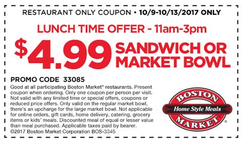 11782 Pocketsmith Coupon by Boston Market Coupons 5 Lunch Sandwich Or Bowl At