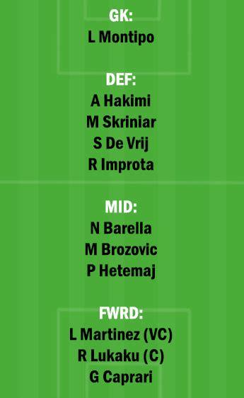 INT vs BNV Dream11 Team fantasy Prediction: Serie A