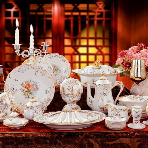 dinnerware porcelain luxury embossed handmade european piece suit sets gilt relief shipping