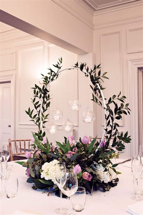 floral hoop table centrepiece captured by teresa c