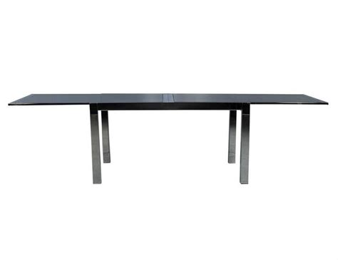 smoked glass and chrome extendable dining table for sale