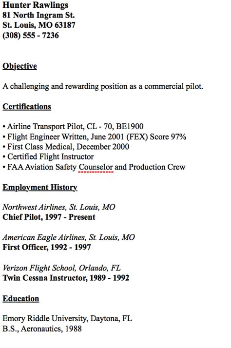 Entry Level Pilot Resume by Pin By Ririn Nazza On Free Resume Sle Resume Resume